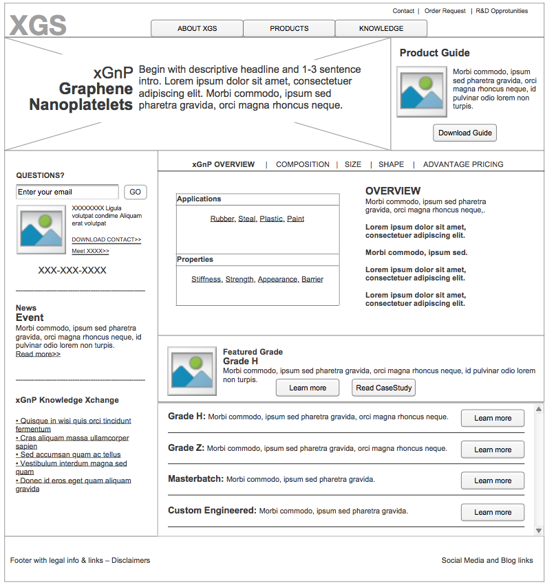 image of wireframes for XGS product request