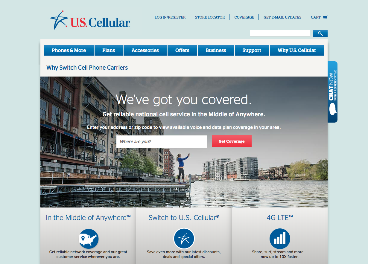 """New """"U.S. Cellular Why Switch"""" page localize network messaging and experiences to resonates with online audience."""